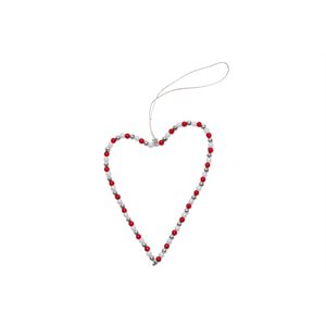 Wire & Bead Heart, red / silver / white