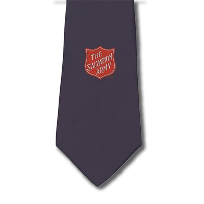 Navy Blue Clip On Tie with Shield