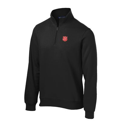 SWEATSHIRT 1 / 4 ZIP BLK  W / SHIELD SPORT-TEC
