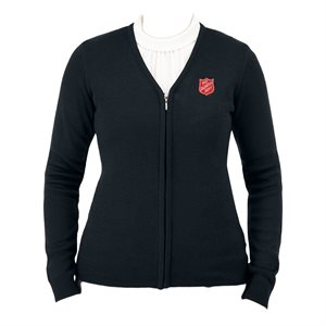 Sweater Lady's Nvy Zip with Shield No Pocket Xs