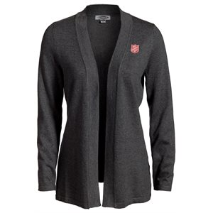 Charcoal Grey Cardigan with Red Shield Embroidery