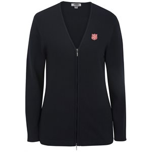 Ladies Navy Blue Zip Cardigan with Shield