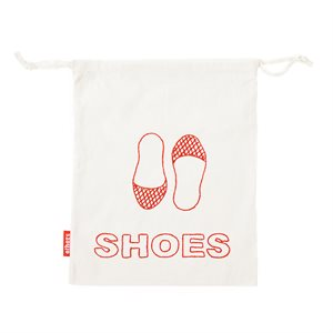 White Shoe Bag with Red Embroidery
