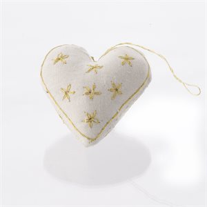 Linen Heart Ornament with Gold Embroidery