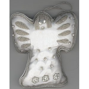 Embroidered White Angel Ornament