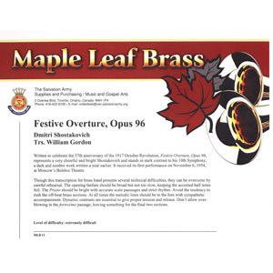 MAPLE LEAF BRASS #11 FESTIVE OVERTURE, OPUS96