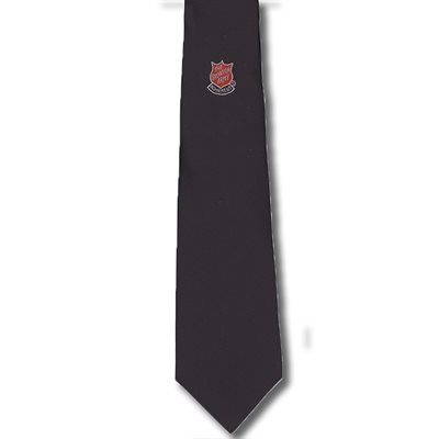 Navy Blue Clip-on Tie with Adherent Shield Pin