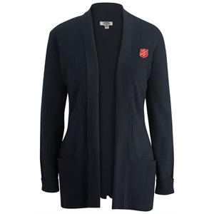 Navy Blue Cardigan Wrap w/ Pockets & Shield Embroidery