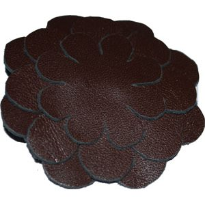 Leather Broach:: w /  Brown Beads