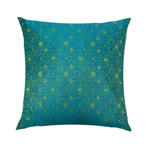 Cushion Cover Brocade:: Flower Turquoise