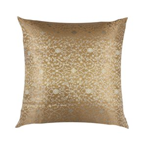 Cushion Cover Brocade:: Flower Turquoise / Grey / Gold
