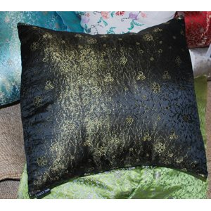 Cushion Cover Brocade:: Flower Black