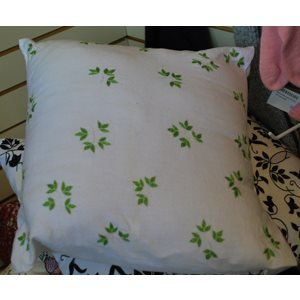 Cushion Cover Embroidery:: Green Leaf. Lg
