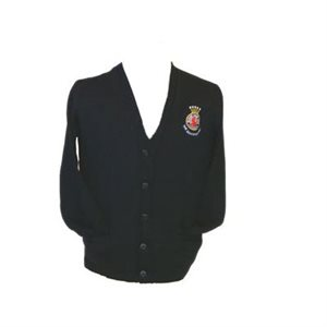 Navy Blue Unisex Cardigan Sweater with Crest Patch