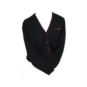 Ladies Navy Blue Cardigan with Burgundy Piping and The Salvation Army Embroidery